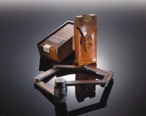 Trelock - Faltschloss Trelock Manufaktur in Holzk. FS 450/85, schwarz, mit Ledertasche