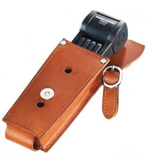 Trelock - Faltschloss Trelock Manufaktur m. Halter FS 300/85, schwarz, mit Leder