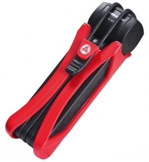 Trelock - Faltschloss Trelock Trigo mit Halter FS 300/85, rot, mit Kunststoffhalter