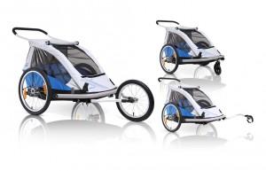 ZweiPlusZwei - Fahrrad-Kinder-Anh�nger XLC Mod.2014 20Zoll Duo blau Zweisitzer m.Zusatzeinr.