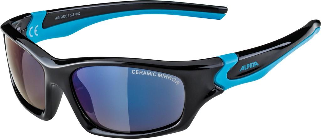 Slunecní brýle Alpina Flexxy Teen, Obroucky cerná/cyan Sklo modrá zrcadl.S3