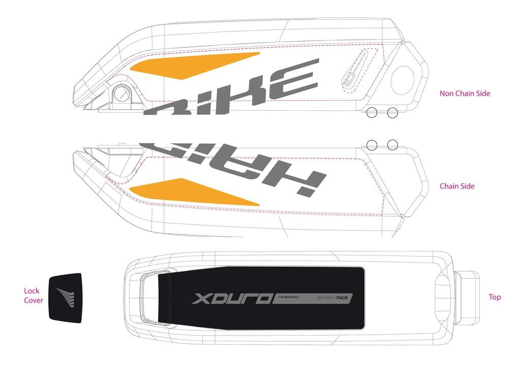 Dekor E-Bike Xduro p.kryt akumulátoru, 2015,tmave šedá+oranžová