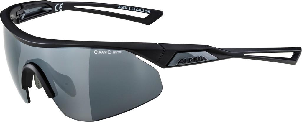 Slunecní brýle Alpina Nylos Shield, Obroucky cerná matná Skla cerná zrcad.S3