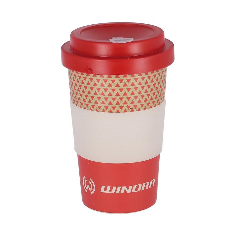 Coffe-to-GO-WINORA kelímek cervená/bílá, bambus, 400ml