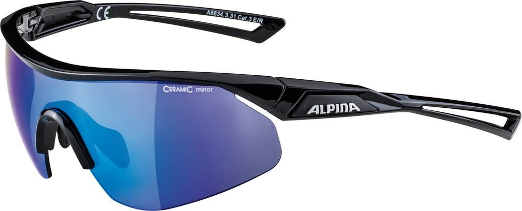 Slunecní brýle Alpina Nylos Shield, Obroucky cerná Skla modrá zrcadl.S3