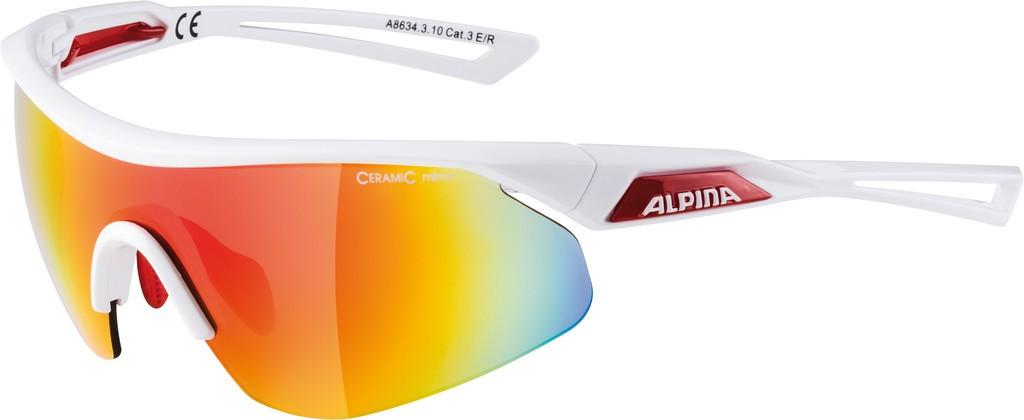 Slunecní brýle Alpina Nylos Shield, Obroucky bílá/crvn Skla cervená zrcad.S3