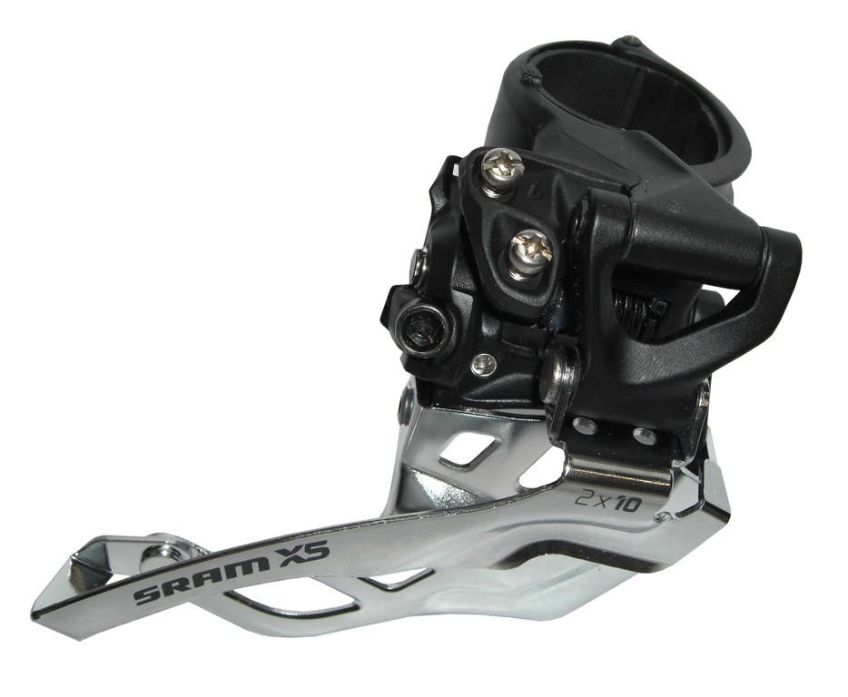 Přesmykač SRAM X-5 2x10 horní objímka 31.8/34.9 černý, spodnítah