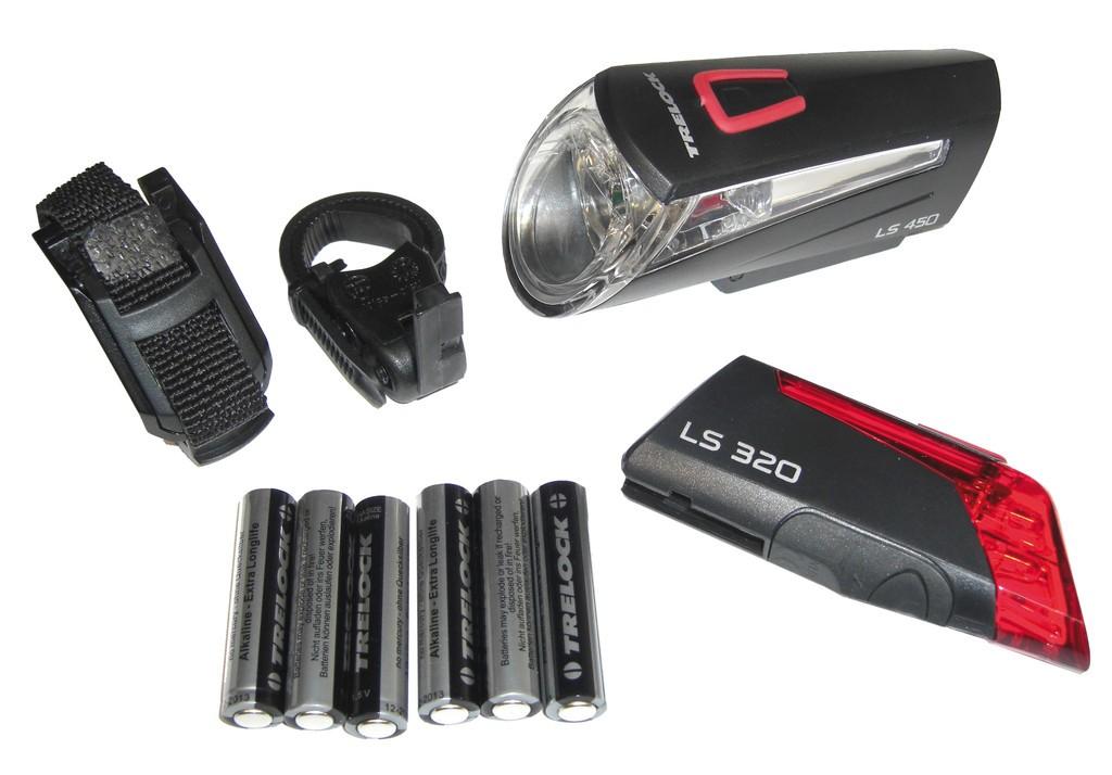 set clairage led batterie trelock ls 450 320 noir avec batterie. Black Bedroom Furniture Sets. Home Design Ideas