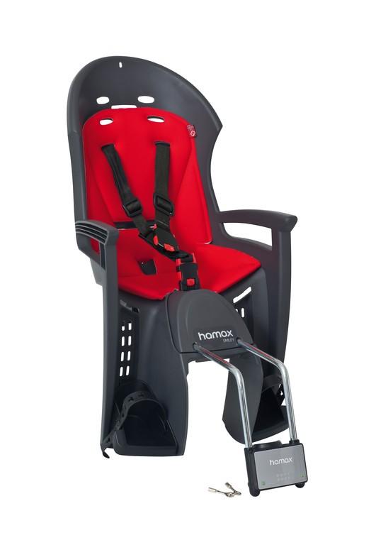 Detská sedacka Hamax Smiley šedá/cervená, Uchycení na rám.trubku uzamyk.