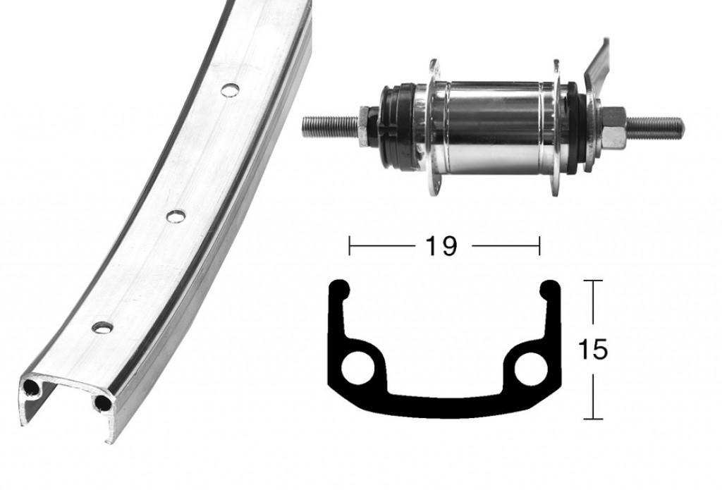 28 x 1 3/8 SHIM. 1-prev.,36 der, Alu/zinek náboj zadní zpetné brzdy