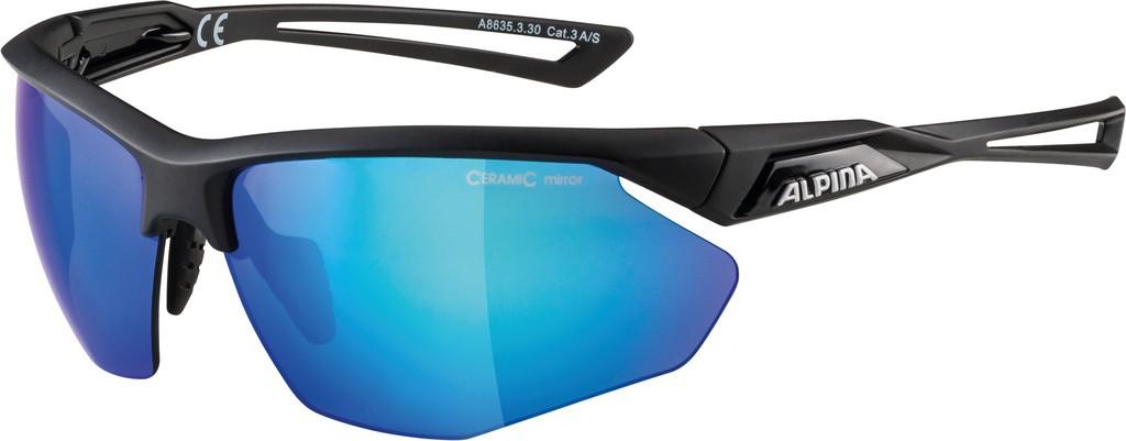 Slunecní brýle Alpina Nylos HR, Obroucky crn.mat.sklo.modrá zrcadl.S3