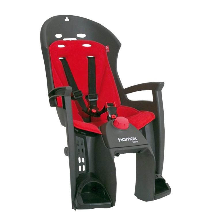 Detská sedacka Hamax Siesta Nosic, šedá/cervená, upevnení na nosic