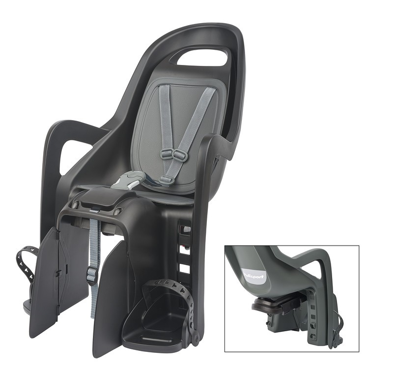 Detská sedacka Polisport Groovy Maxi CFS, tmave šedá/stríbrná,upevnení na nosic