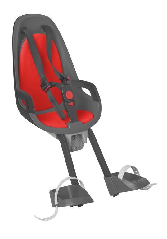 Detská sedacka Hamax Caress Observer, šedá/tm.šedá/cervená,upevnení vpredu