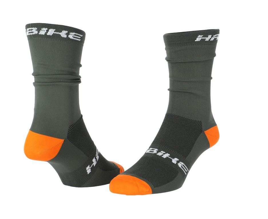 Ponožky Haibike CARLO,olivová zelená, oranžová, velikost 38-42