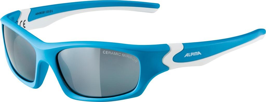 Slunecní brýle Alpina Flexxy Teen, Obroucky cyan/bílá Skla crn zrcadl.S3