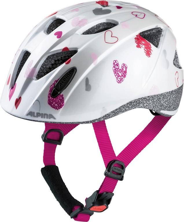 Cyklistická helma Alpina Ximo, white hearts vel.47-51cm