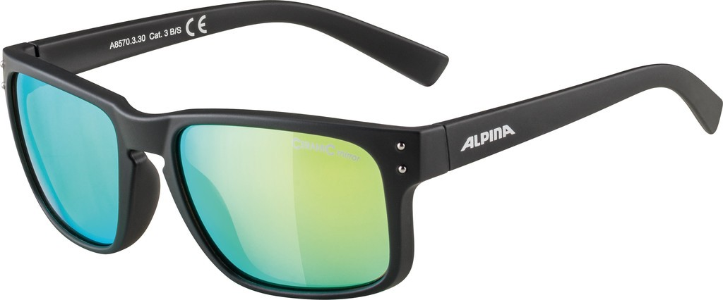 Slunecní brýle Alpina Kosmic, Obroucky crn mat.sklo neon žlutá zrc.S3