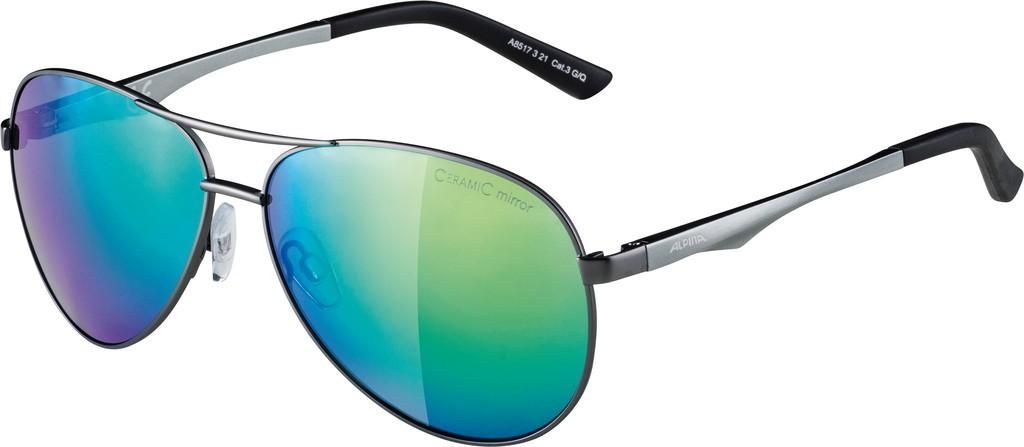 Slunecní brýle Alpina A 107, Obroucky gun matná Skla zelená zrcadl.S3