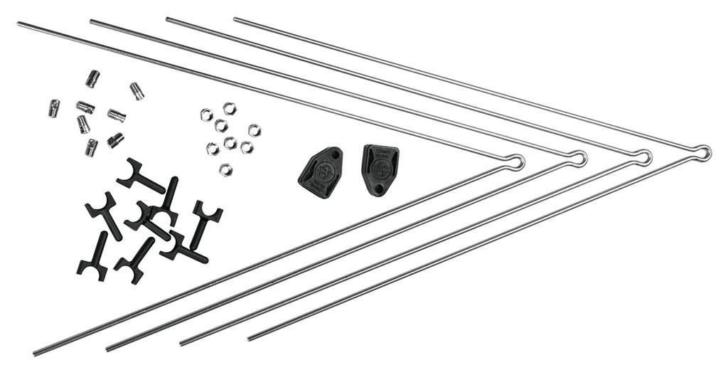 V-vzpery pár SKS SECU Chromopl.Pr+zad.k., pro plast.blatníky 10184