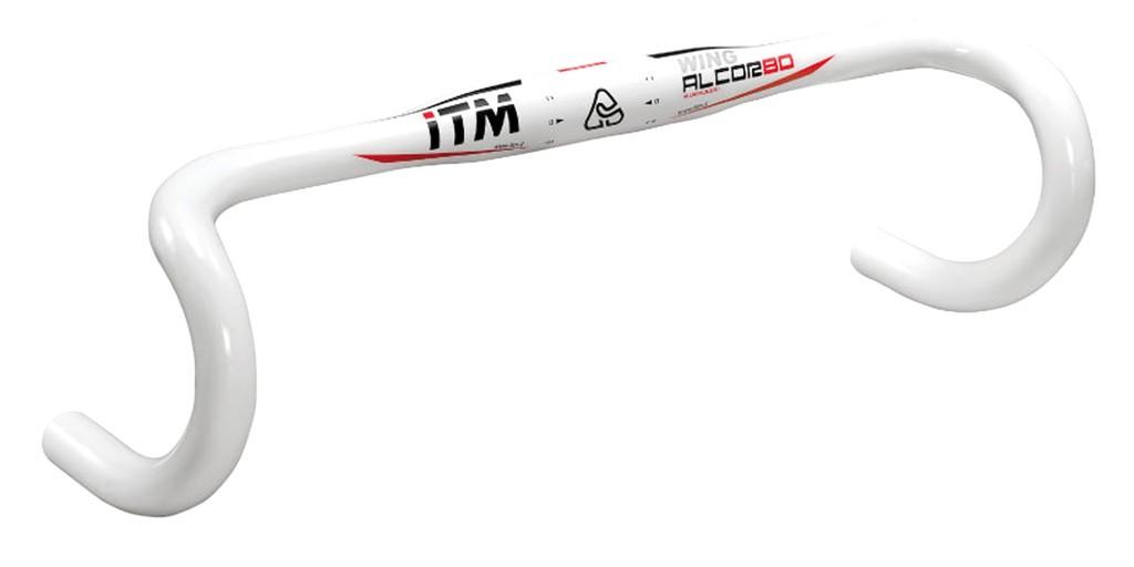 Závodní ridítka ITM Alcor 80 Wing wht, Ø31,8 mm, 380mm, Al 6061 bíle lakované