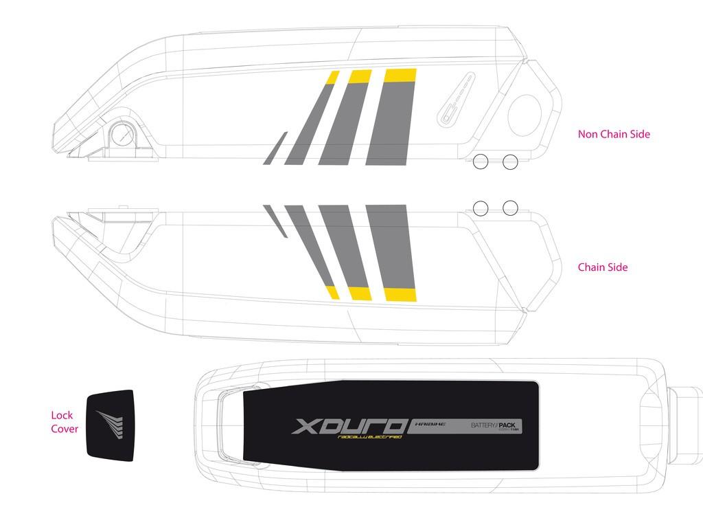 Dekor E-Bike Xduro p.kryt akumulátoru, GEN2 2014,šedá+žlutá