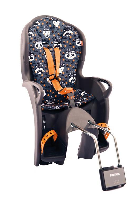 Detská sedacka Hamax Kiss, šedá/oranž.se vzorem,upev.na rám.trubku