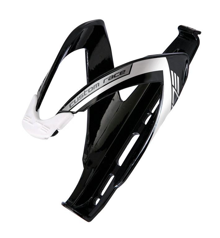 Elite košík CUSTOM RACE lesklý černý/bílý