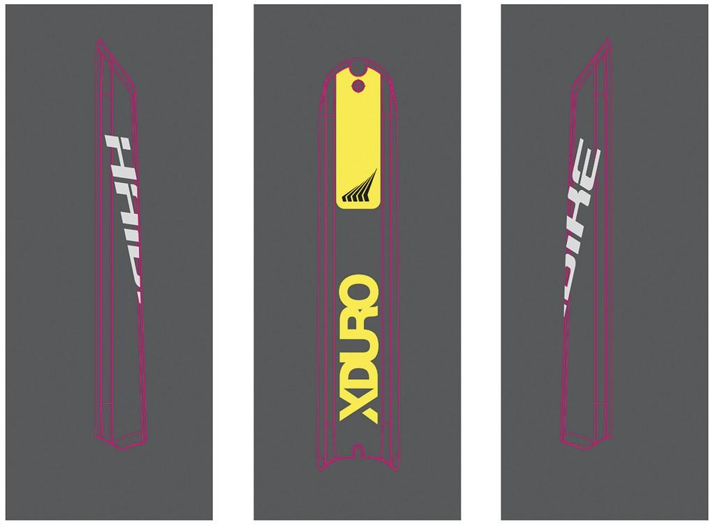 Dekor E-Bike Xduro p.skidplate baterie, 2018,HB-S12 žlutá + HB-S03 titan