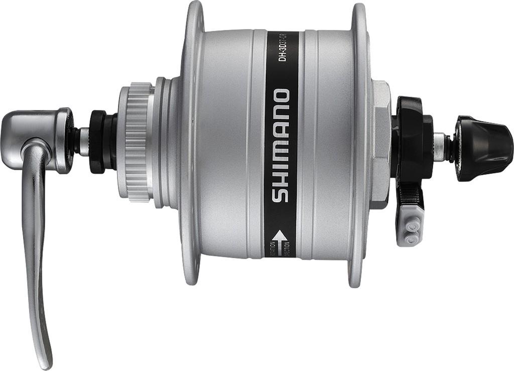 Dyn.v náboji pr.kola Shimano A-DH3D37 3W, 100mm, 32 der,stríbrná,Centerlock, SNSP