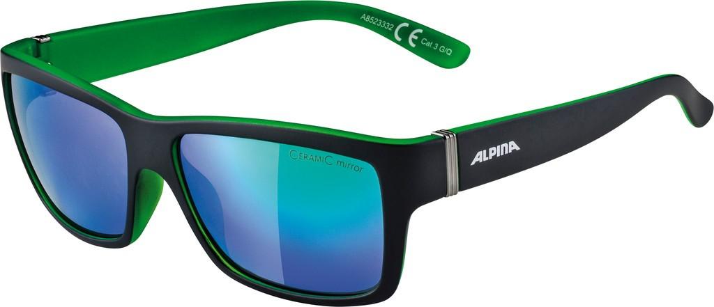 Slunecní brýle Alpina Kacey, cerná matná/zelená skla zelená zrcadl.S3