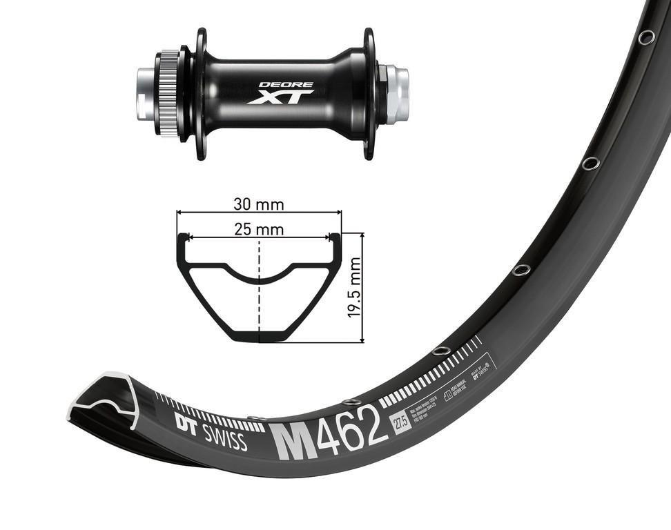 "27,5"" Deore XT..cernáTA 15 110mm, DT Swiss  M462 Disk crn .Niro-paprsky(crn)"