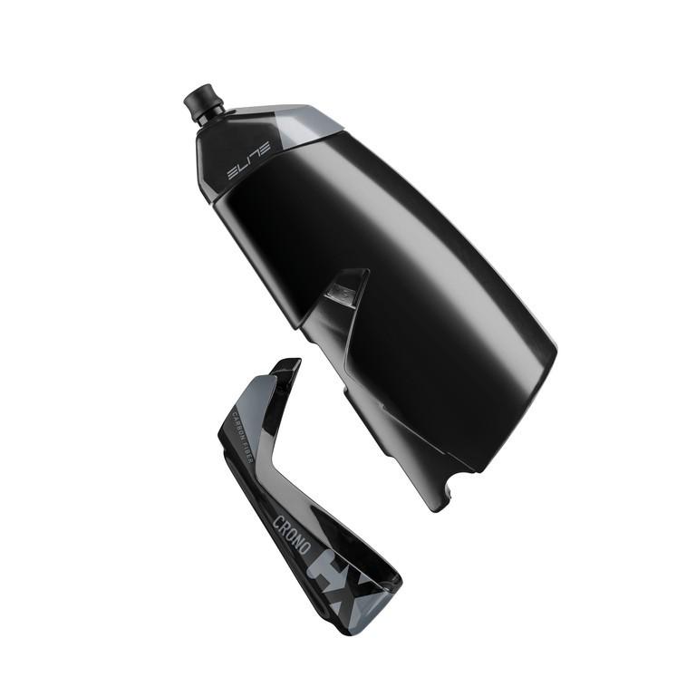 Láhev a držák Elite Crono CX, cerná, carbon-držák, Aero-láhev 500ml
