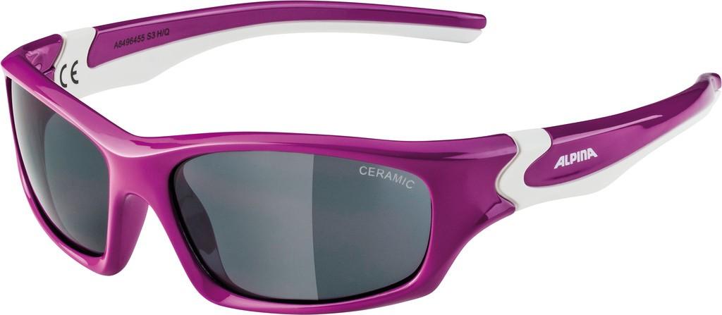 Slunecní brýle Alpina Flexxy Teen, Obroucky berry/bílá Skla cerná zrcadl.S3