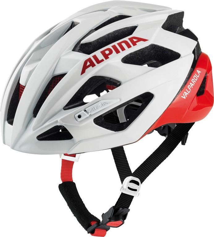 Cyklistická helma Alpina Valparola, white-red vel.51-56cm