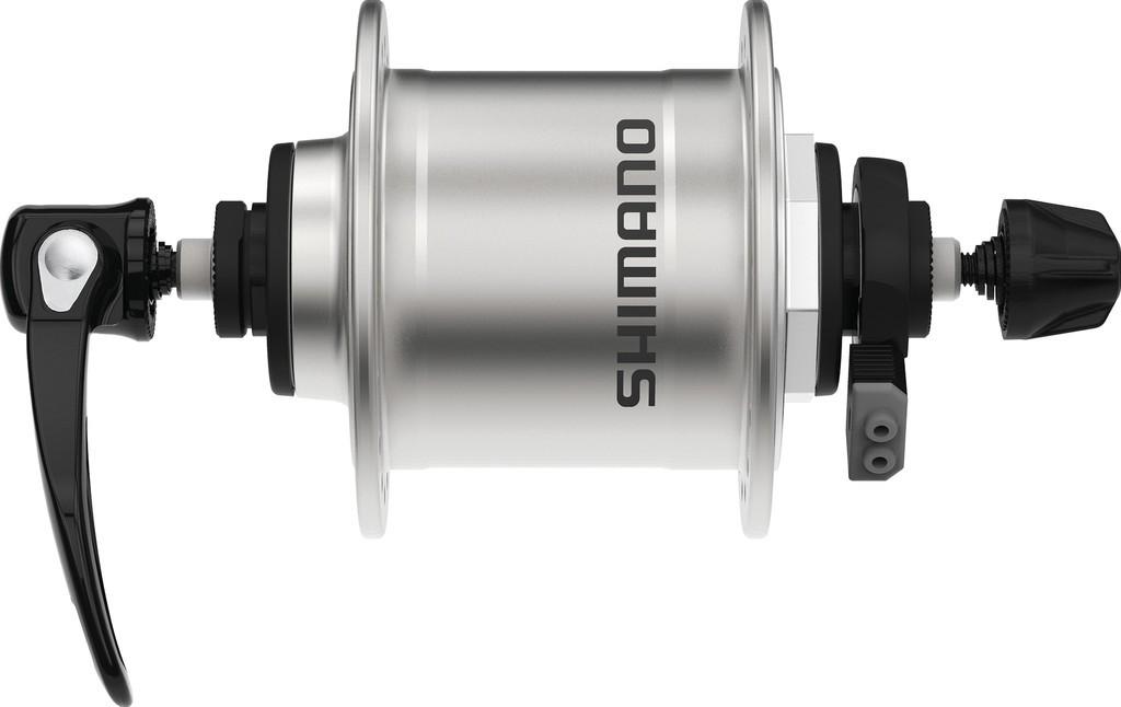 Náboj.dynamo pr.kola Shimano DHT4000100mm, 36 der, rychloup., stríbrná