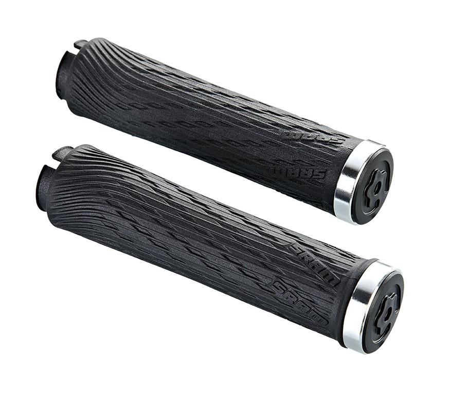 Locking gripy pro XX1 otočné řazení 100mm a 122mm se stříbrnou objímkou a s koncovkou řidí