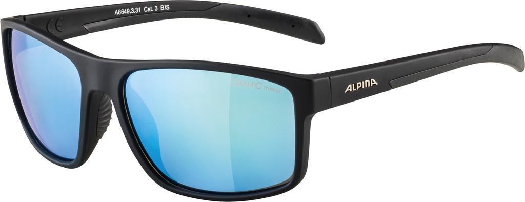 Slunecní brýle Alpina Nacan I, Obroucky cerná mat. sklo modrá zrcadl.