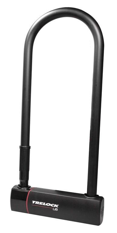U-zámek Trelock + držák ZB 401, U6 L, cerná, 108x300mm, Ø16mm
