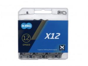CHAÎNE KMC X12 1/2x11/128 126 MAILLONS 12V NOIRE/ARGENT