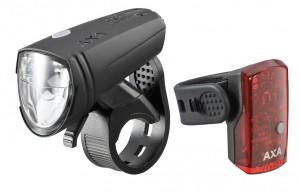 Axa set éclairage LED accu  Green Line 15 éclairage AR 1 LED et câble USB inclus