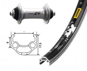 roue AV 26x1.75 Deore XT argent QR 36 t Mavic XM 117   noir   rayons acier inox