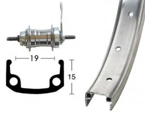 Roue AR 20 x 1.75 36T alu/zinc moyeu frein à rétropédalage