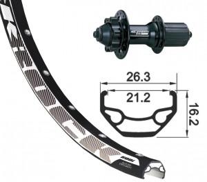 roue arrière 27.5' XLC 6 tr.nr,bloc.rapide 32L Rodi Black Rock DISK nr, rayons inox(nr)