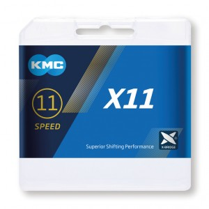 CHAÎNE KMC X11 1/2x11/128 114 MAILLONS 5.65 mm 11V GRISE
