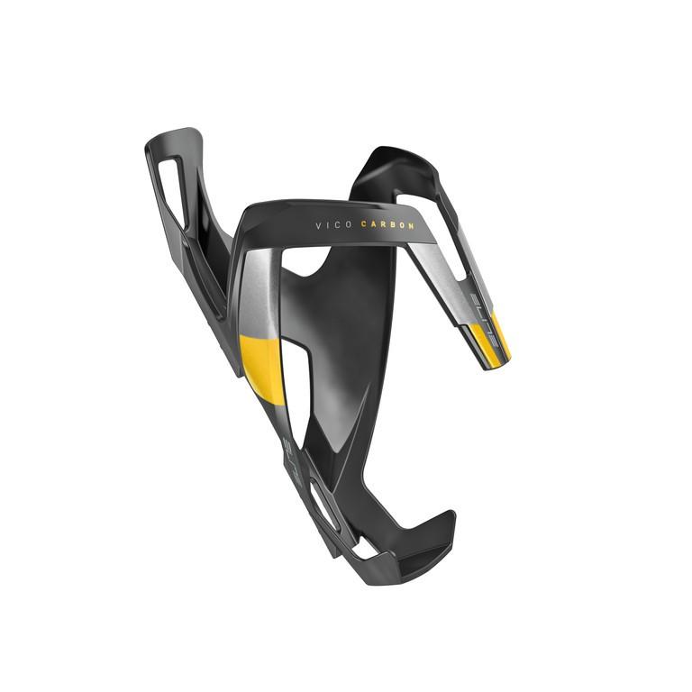 Košík na láhev Elite Vico Carbon černý/žlutý